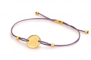 Element FIRE - silver bracelet gold plated, glossy, violet thread