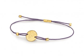 Element WATER - silver bracelet gold plated, glossy, violet thread