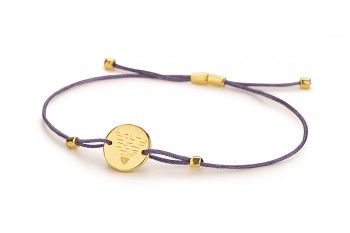 Element EARTH - silver bracelet gold plated, glossy, violet thread
