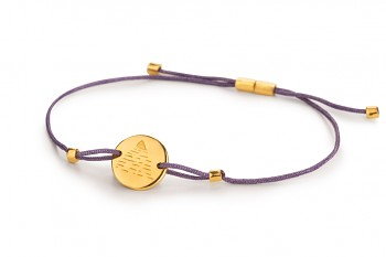 Element AIR - silver bracelet gold plated, glossy, violet thread