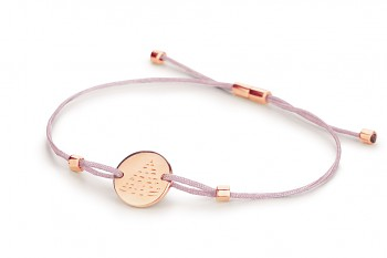 Element FIRE - silver bracelet rose gold plated, glossy, jade thread