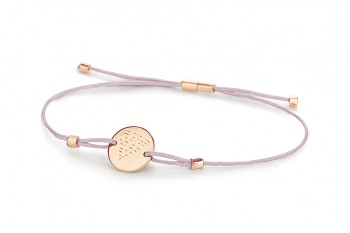 Element WATER - silver bracelet rose gold plated, glossy, lila thread