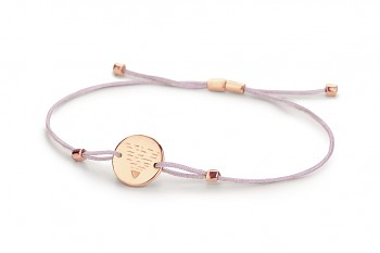 Element EARTH - silver bracelet rose gold plated, glossy, lila thread