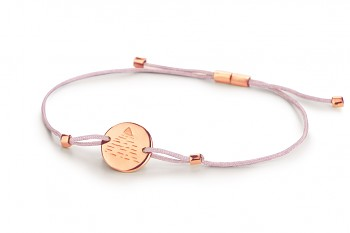 Element AIR - silver bracelet rose gold plated, glossy, jade thread