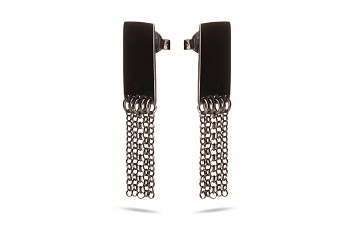 THEIA - Silver earrings, black rhodium plated, chains, glossy