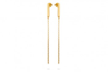 COMETES - Silver earrings, gold plated, chain, glossy