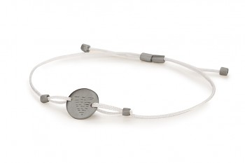 Element WATER - silver bracelet, matte, silver thread, black rhodium