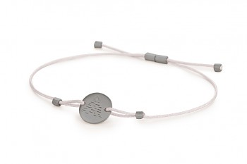 Element AIR - silver bracelet, matte, silver thread, black rhodium