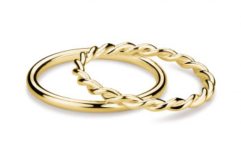 Muselet Ring Set - pair of gold plated silver rings