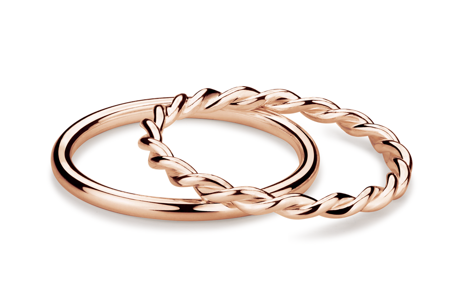 Muselet Ring Set - pair of rose gold plated silver rings