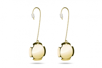 Bouchon Hanging Earrings - Gold plated silver earrings, glossy
