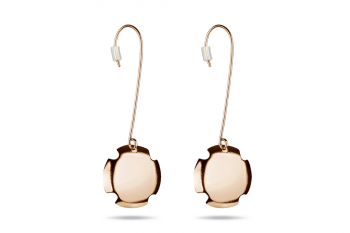 Bouchon Hanging Earrings - Rose gold plated silver earrings, matte