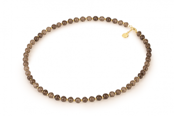 DIWALI Necklace - dedicated to the desire for HAPPINESS, smoky quartz and gold platted silver