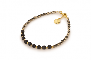 NIA - dedicated to the desire for the INNER STRENGHT, pyrite, lava and gold plated silver
