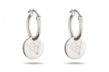 Element EARTH Earrings - silver hoops, glossy