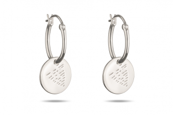 Element WATER Earrings - silver hoops, glossy