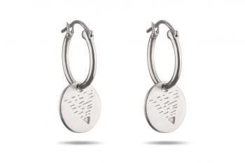 Náušnice Element ZEMĚ - stříbrné kroužky, mat