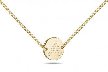 Choker Element OHEŇ - stříbrný náhrdelník pozlacený, lesk